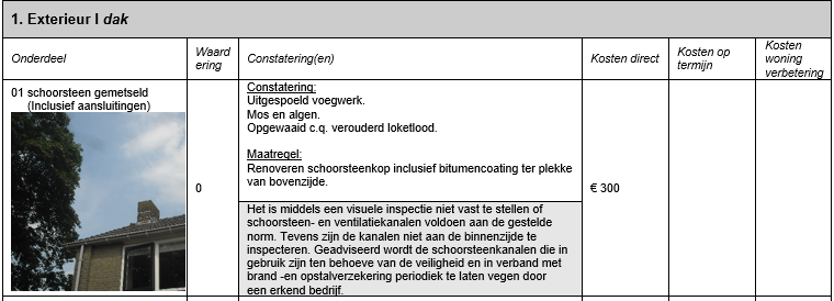 Passage uit bouwtechnisch rapport bouwtechnische keuring